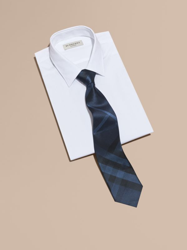 Classic Cut Check Silk Tie in Navy - Men | Burberry United States - cell image 2