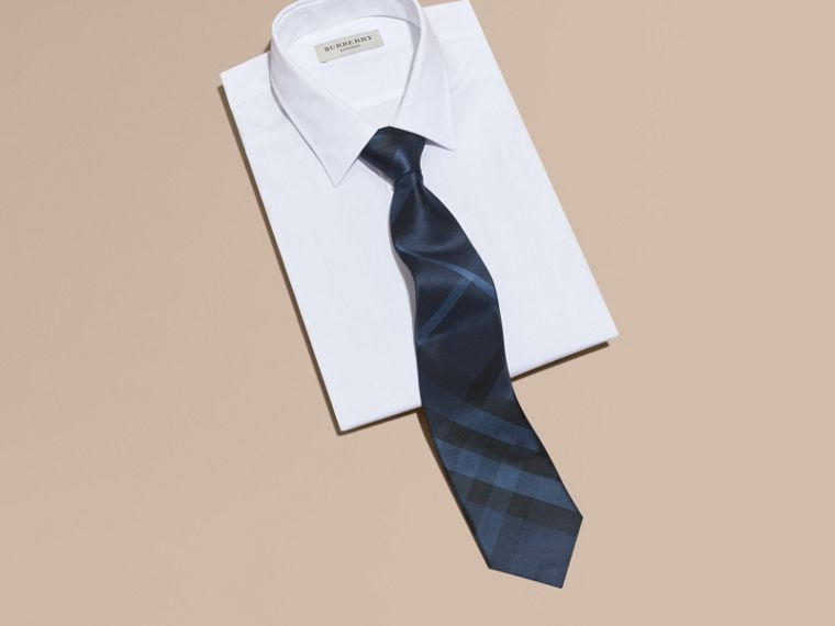 Navy Classic Cut Check Silk Tie Navy - cell image 2