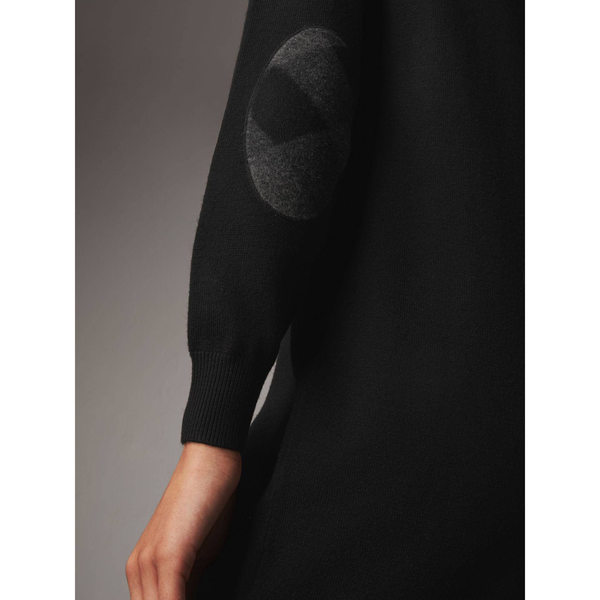 Check Elbow Detail Merino Wool Sweater Dress in Black - Women | Burberry United States - gallery image 1
