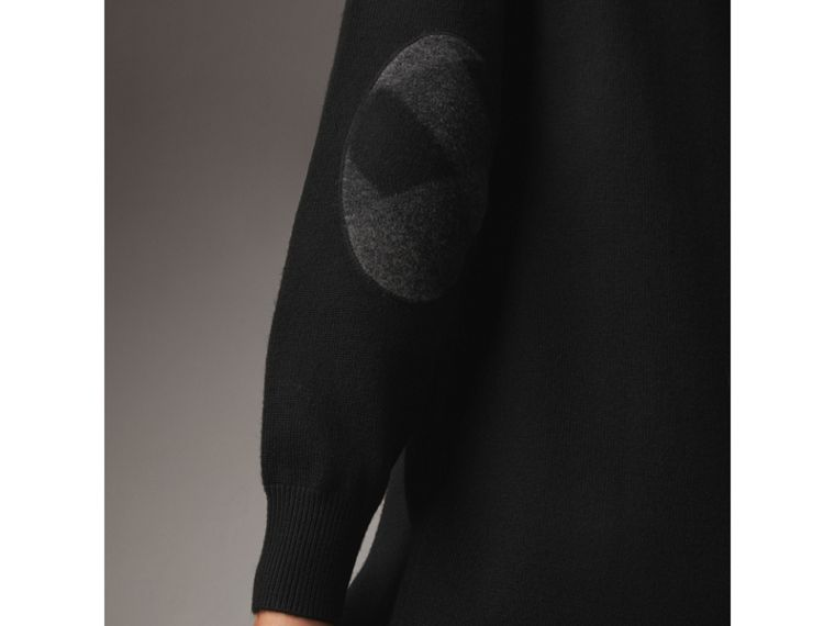 Check Elbow Detail Merino Wool Sweater Dress in Black - Women | Burberry - cell image 1