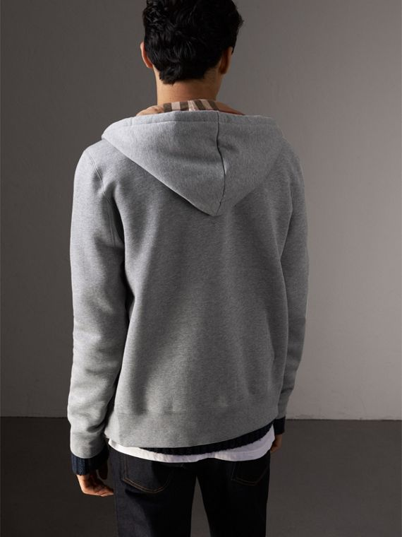 Hooded Cotton Jersey Top in Pale Grey Melange - Men | Burberry - cell image 2
