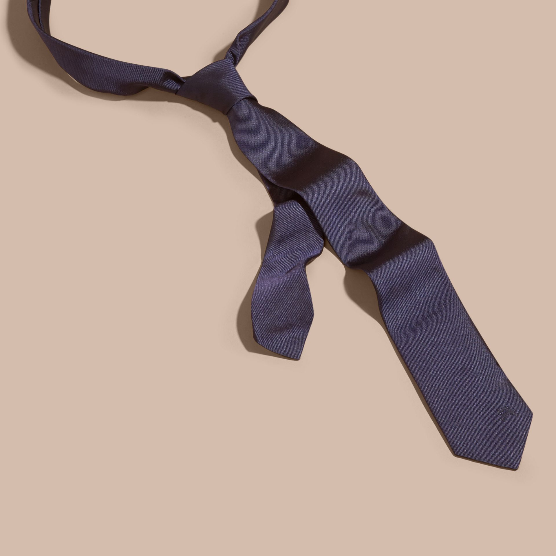 Navy Slim Cut Silk Twill Tie Navy - gallery image 1