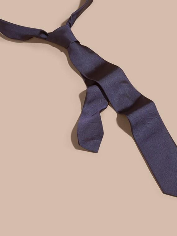 窄版剪裁絲質斜紋領帶 海軍藍