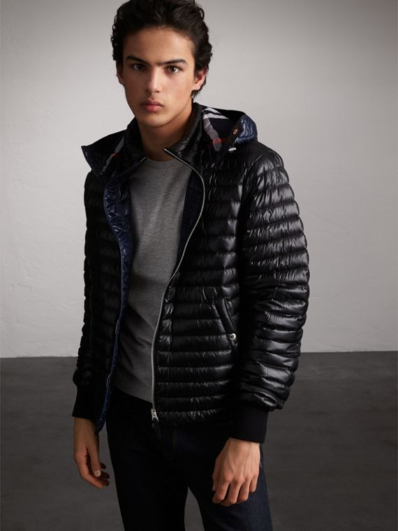 Packaway Hood Down-filled Puffer Jacket in Black - Men | Burberry Australia