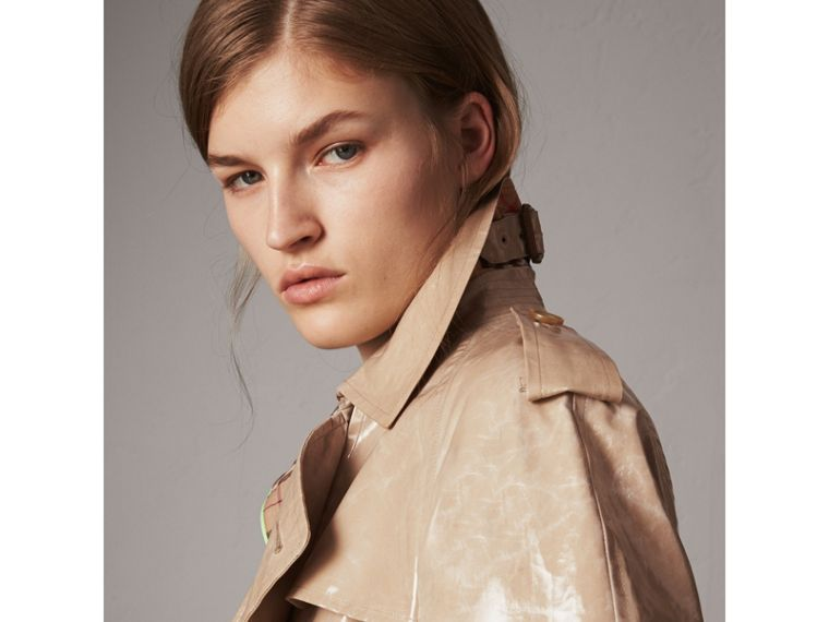 Raglan-sleeve Laminated Gabardine Trench Coat in Honey - Women | Burberry - cell image 1