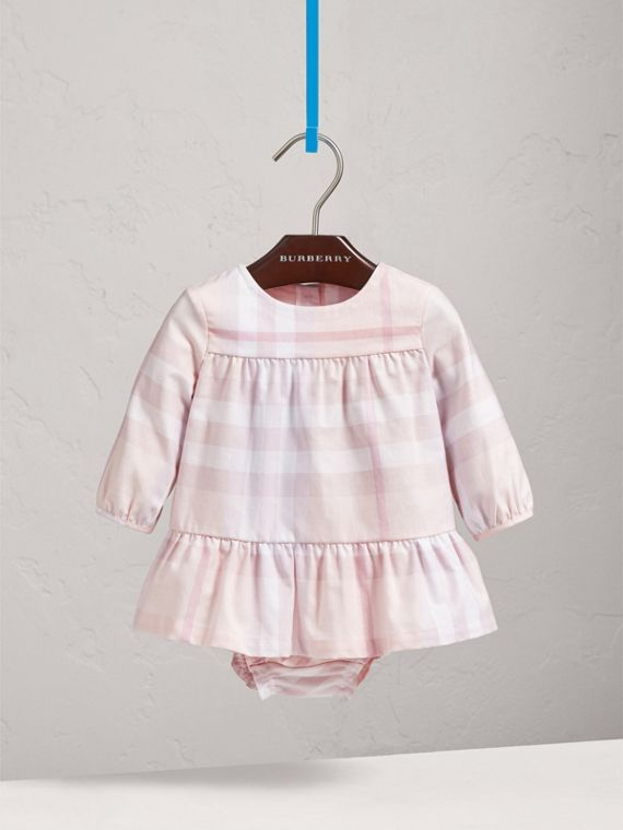 Check Cotton Tiered Dress with Bloomers in Ice Pink | Burberry - cell image 2