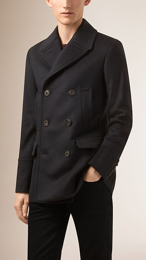 Navy Virgin Wool Cashmere Pea Coat - Image 2