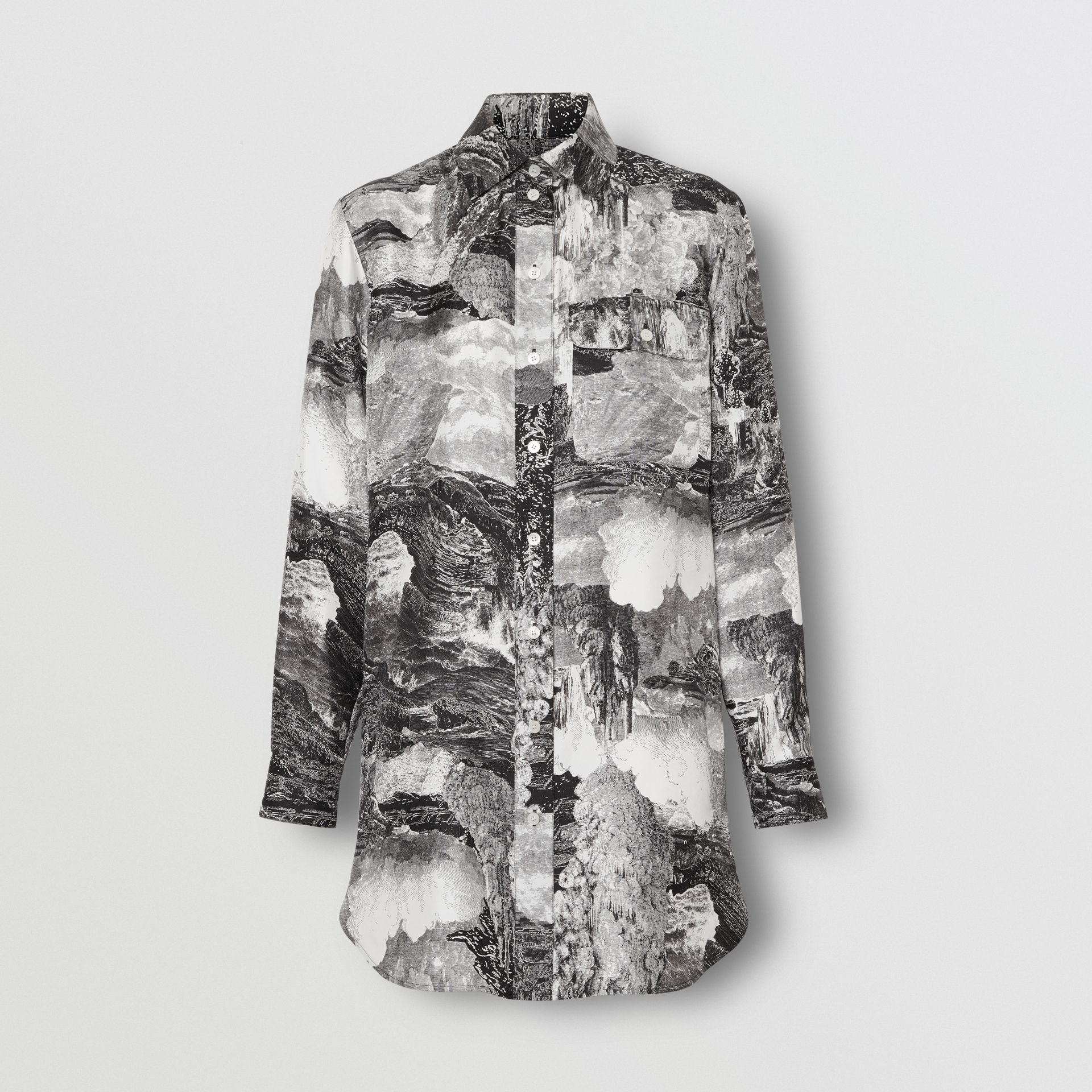 Dreamscape Print Silk Longline Shirt in Black - Women | Burberry Canada - gallery image 3