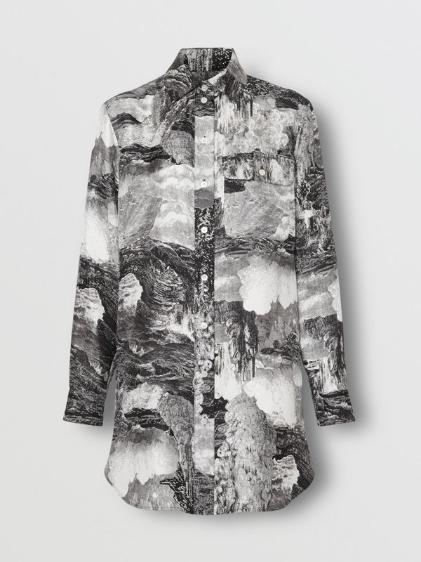 Dreamscape Print Silk Longline Shirt in Black - Women | Burberry Canada - cell image 3
