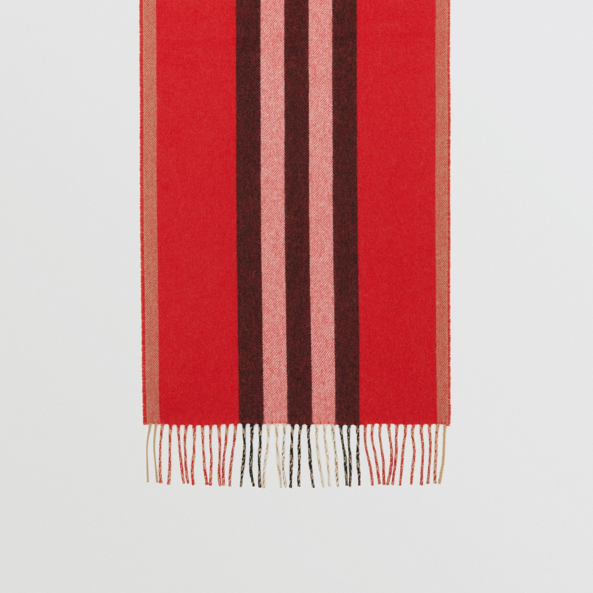 Reversible Icon Stripe Cashmere Scarf in Bright Red | Burberry - gallery image 4