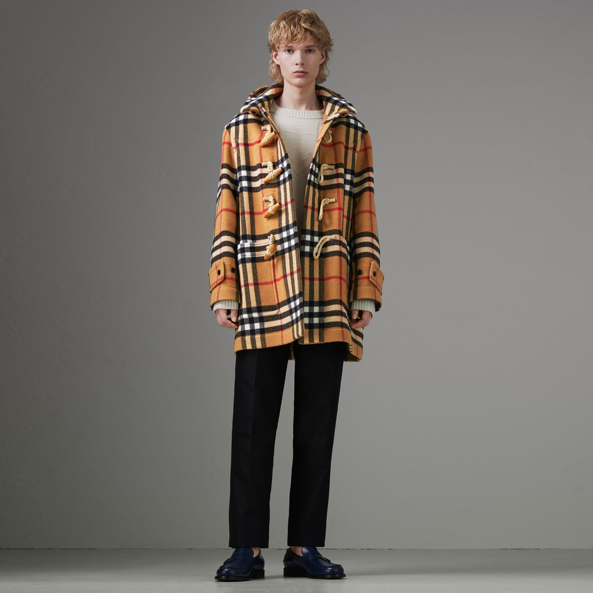 Gosha x Burberry Check Oversized Duffle Coat in Antique Yellow | Burberry - gallery image 0
