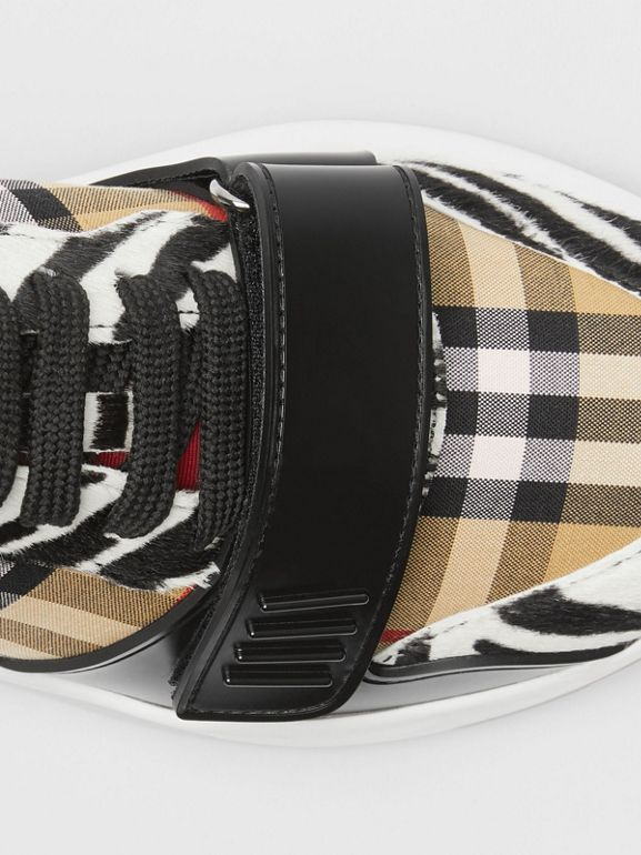 Animal Print and Vintage Check Sneakers in Antique Yellow - Women | Burberry Australia - cell image 1