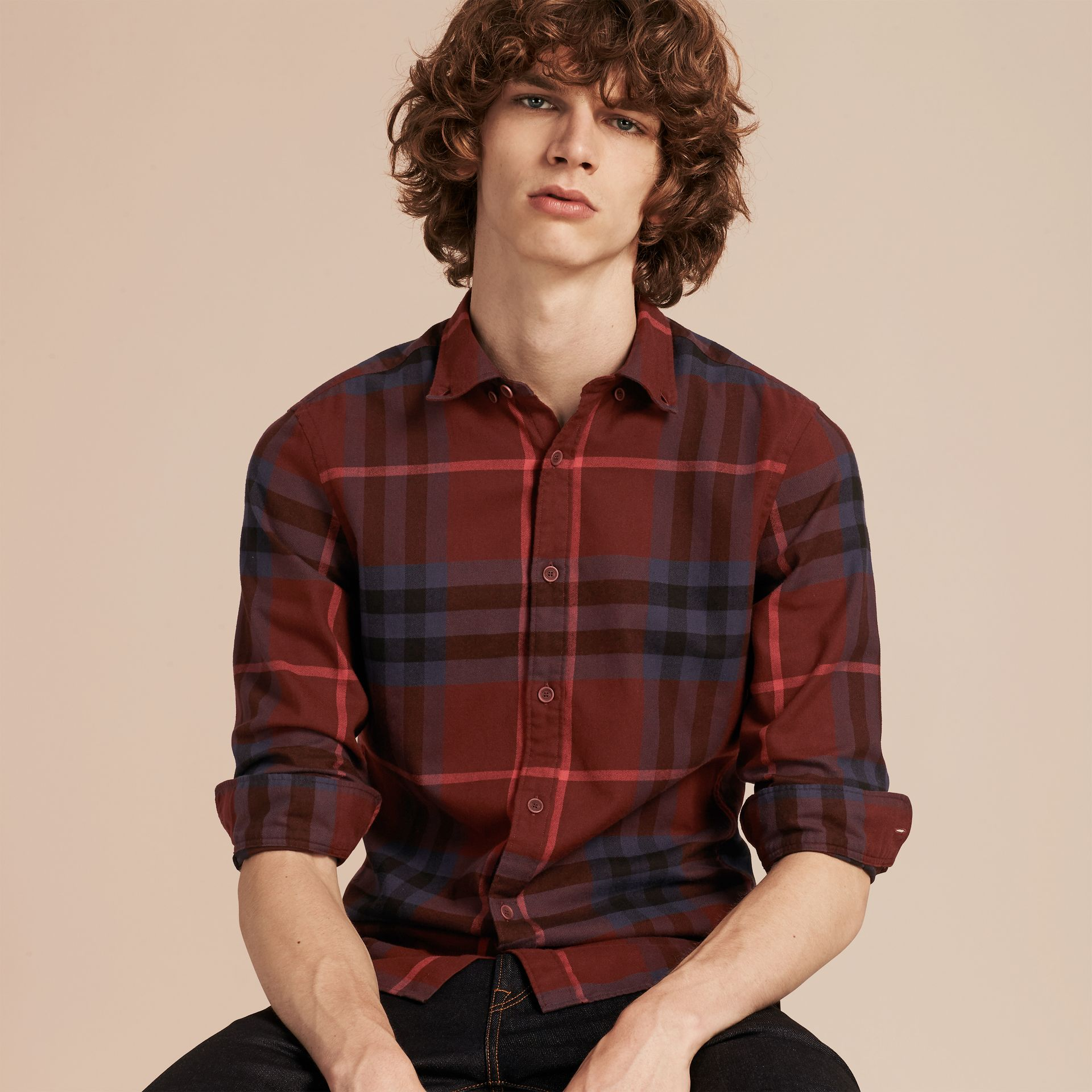 Dark elderberry Check Cotton Flannel Shirt Dark Elderberry - gallery image 6