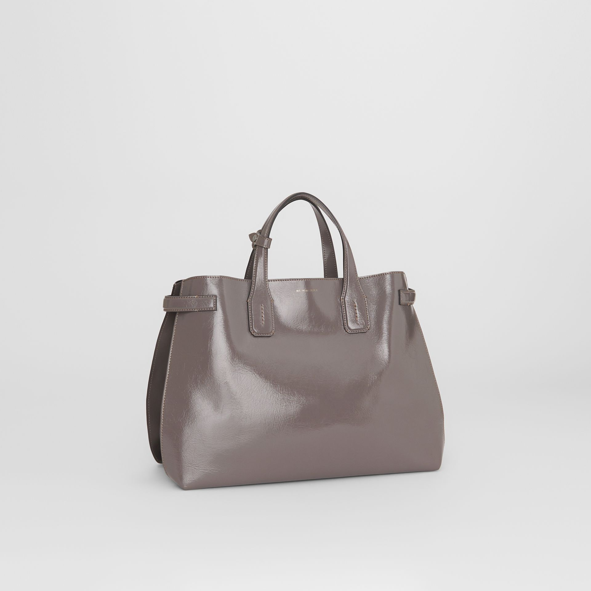 The Medium Soft Leather Banner in Sepia Grey - Women | Burberry - gallery image 6
