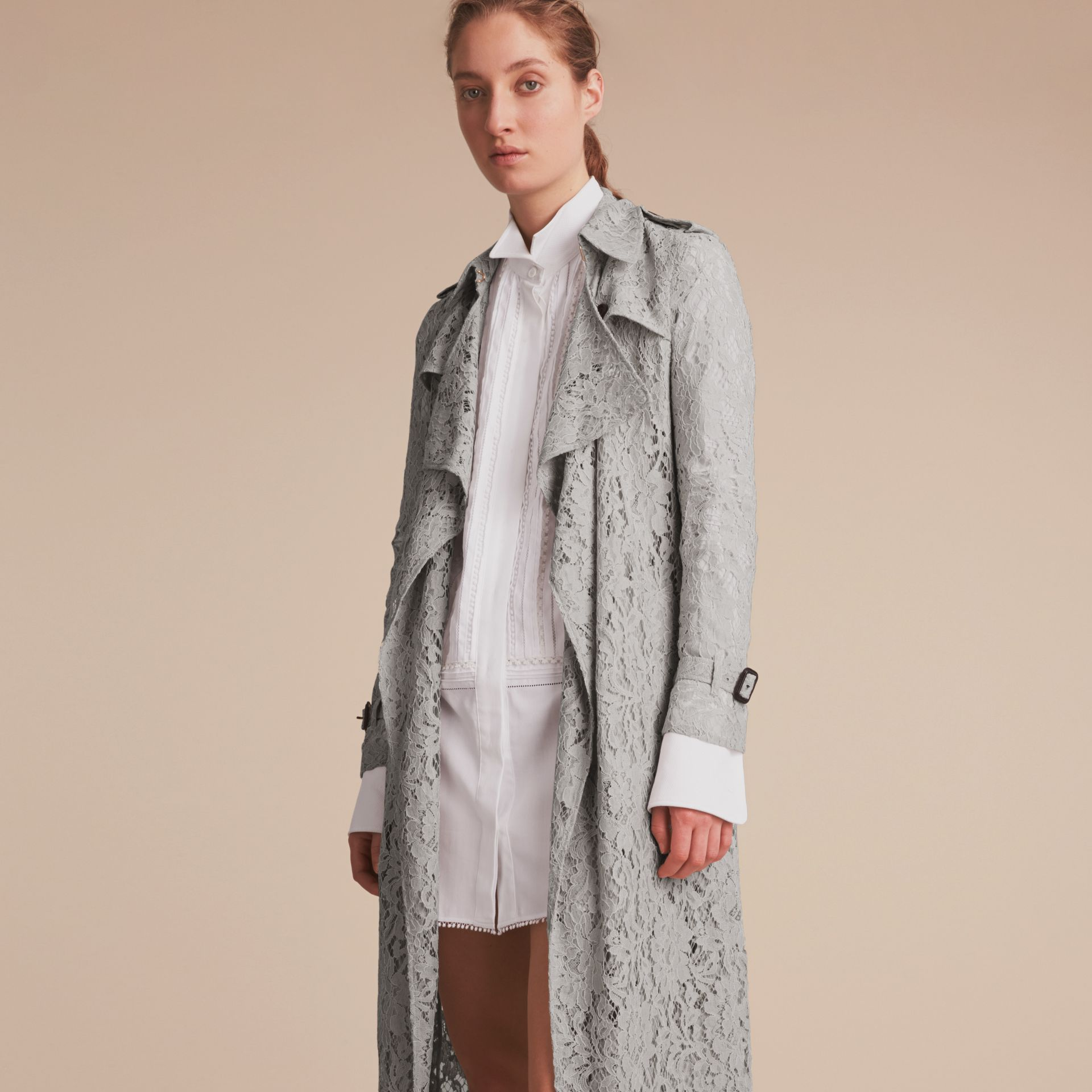 Macramé Lace Trench Coat Pale Grey - gallery image 7