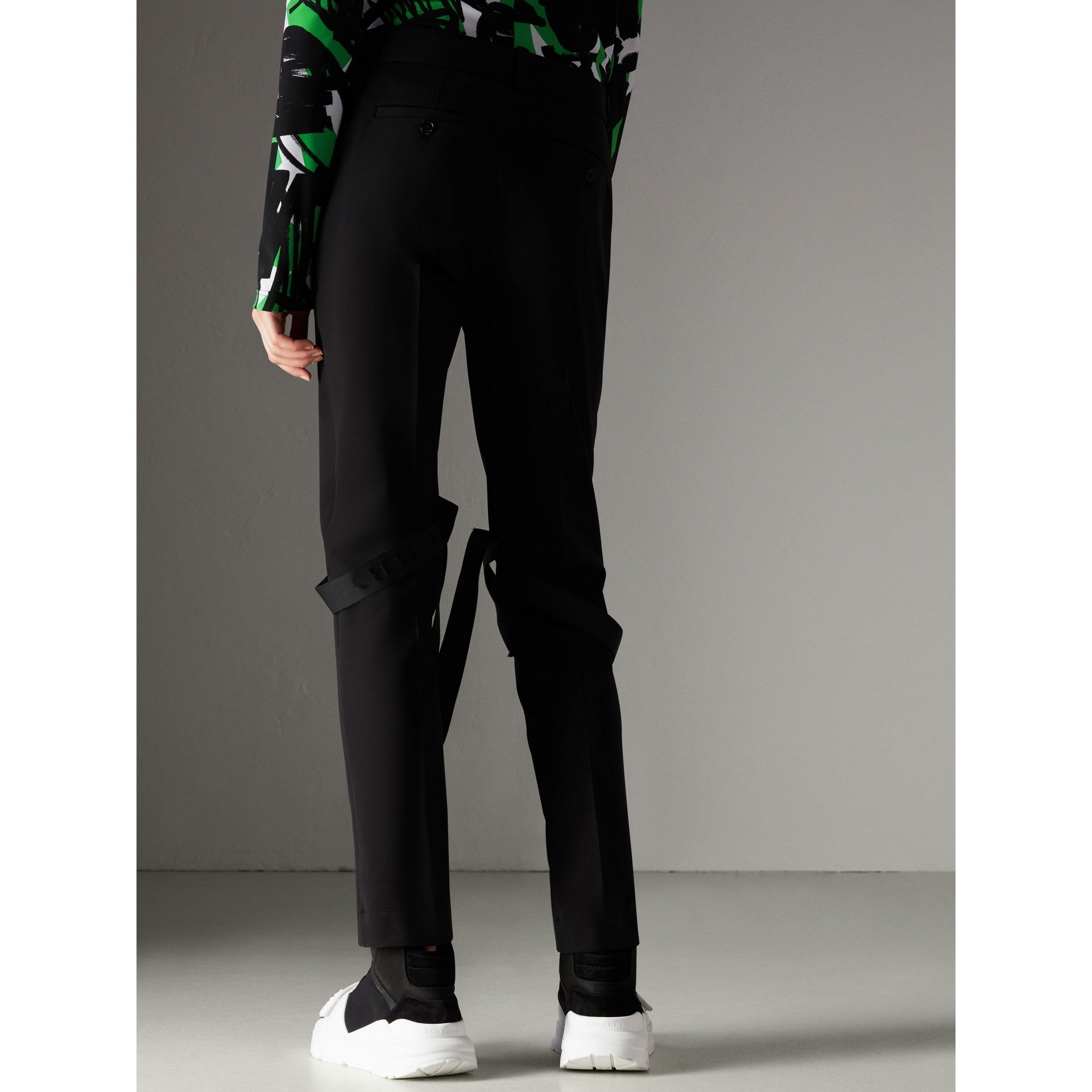 Strap Detail Jersey Tailored Trousers in Black - Women | Burberry Canada - gallery image 2