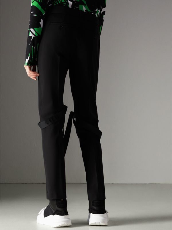 Strap Detail Jersey Tailored Trousers in Black - Women | Burberry - cell image 2
