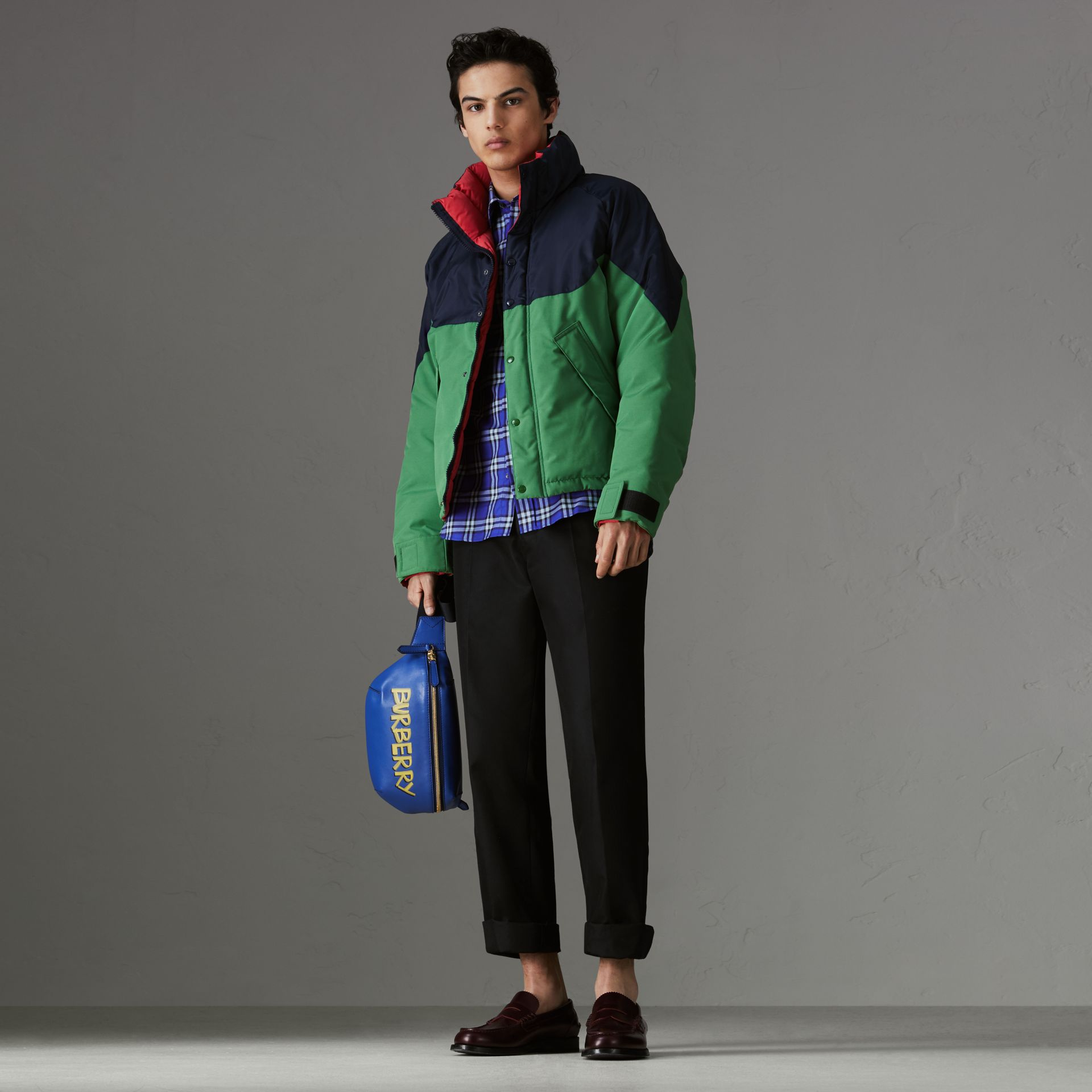 Check Cotton Shirt in Bright Lapis - Men | Burberry Australia - gallery image 0