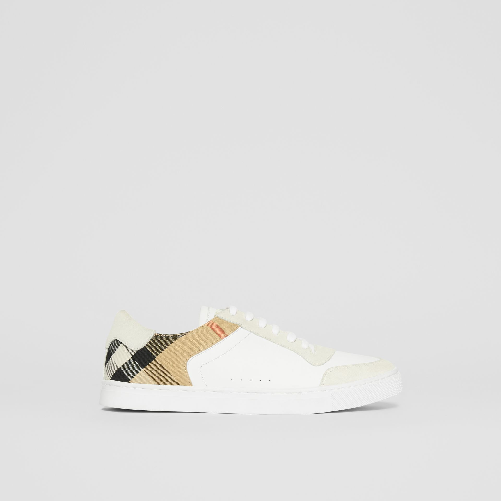 Leather, Suede and House Check Sneakers in Optic White - Men | Burberry United Kingdom - gallery image 5