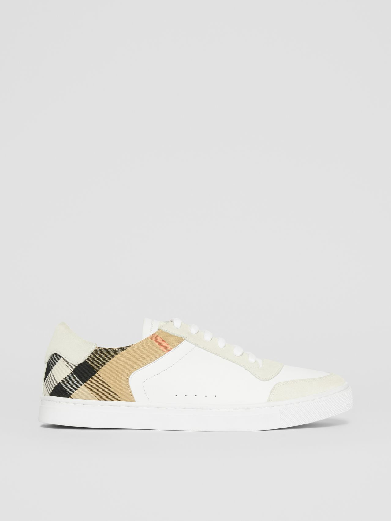 Leather, Suede and House Check Sneakers in Optic White