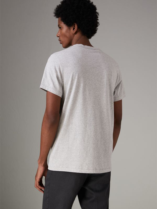 Pocket Detail Cotton Jersey T-shirt in Pale Grey Melange - Men | Burberry - cell image 2