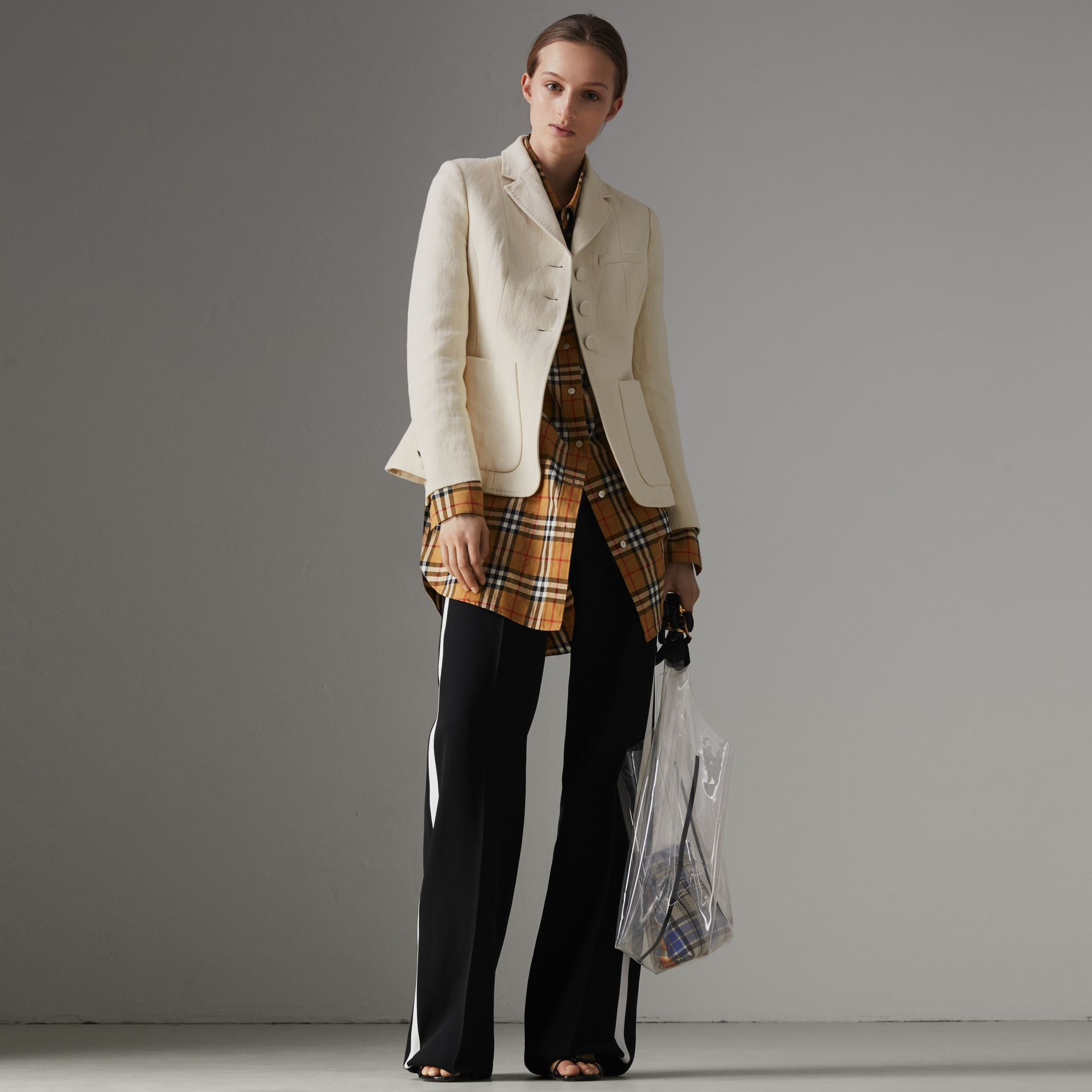 Cotton Linen Fitted Jacket in Off White - Women | Burberry - gallery image 0