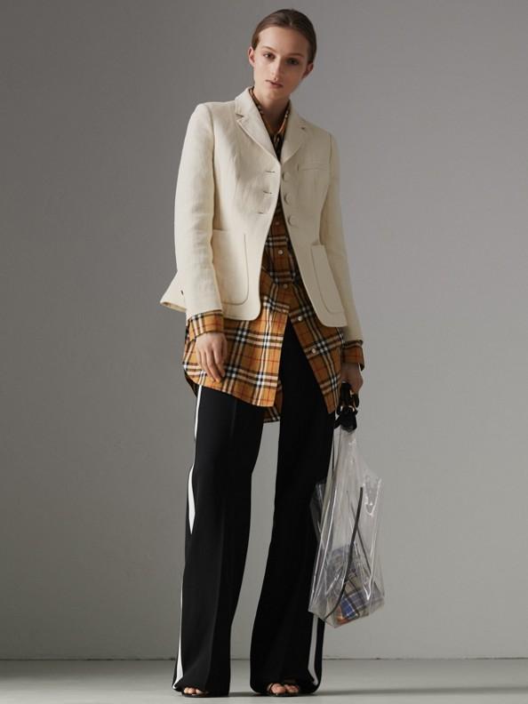 Veste ajustée en lin et coton (Blanc Cassé)