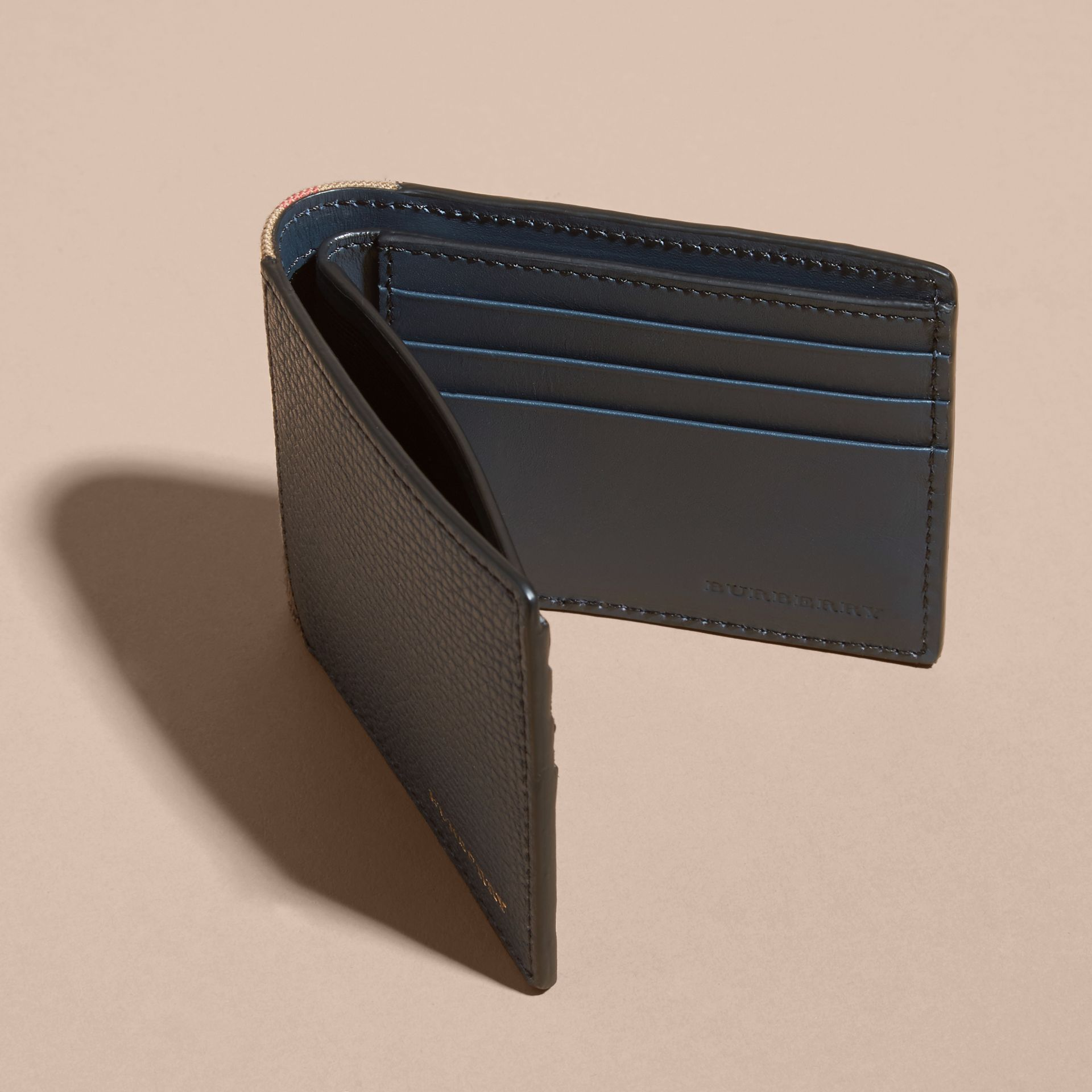 Grainy Leather and House Check Folding Wallet Storm Blue - gallery image 5