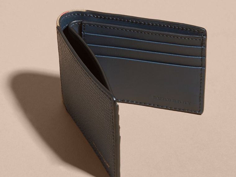Grainy Leather and House Check Bifold Wallet in Storm Blue - cell image 4
