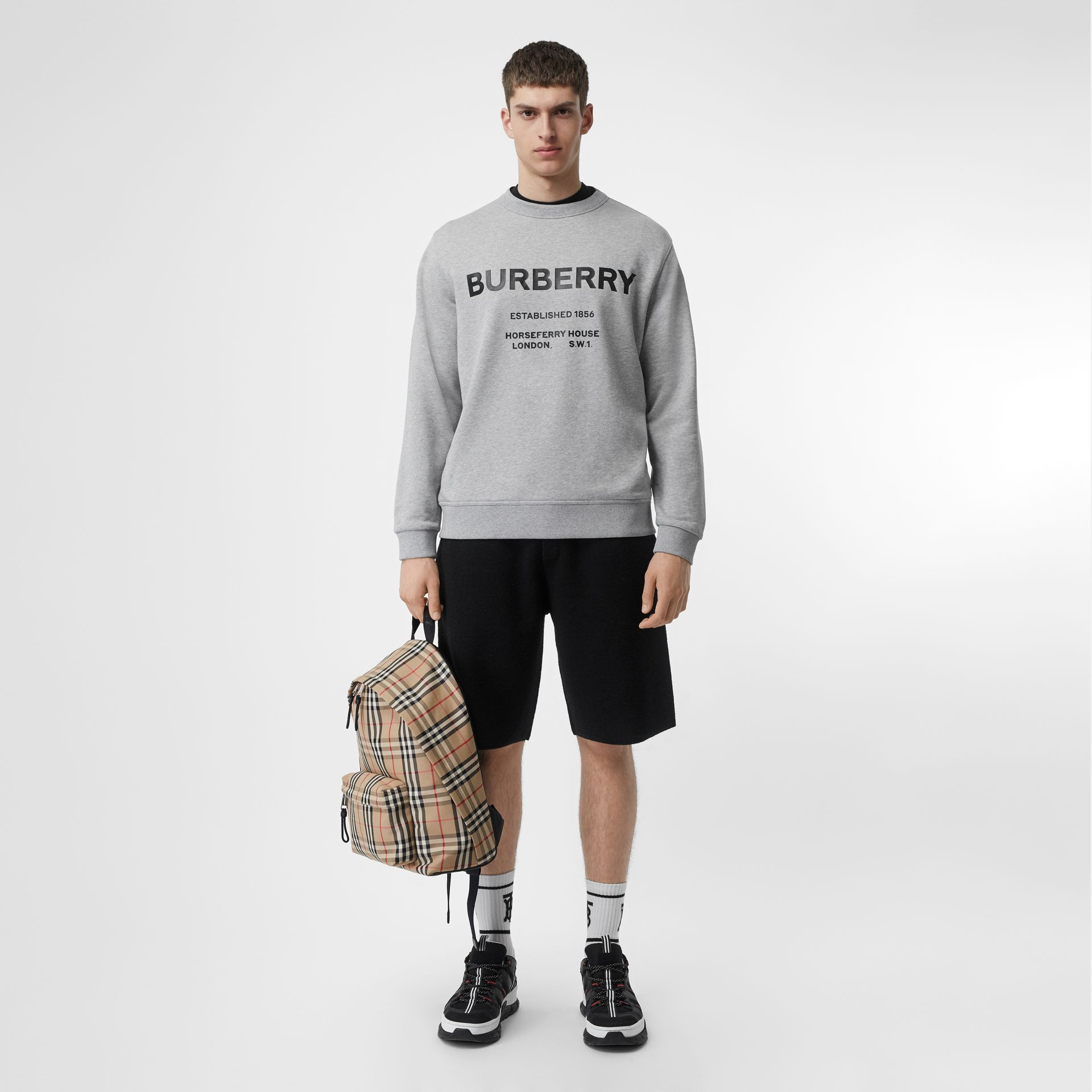 Horseferry Print Cotton Sweatshirt in Pale Grey Melange - Men | Burberry Australia - gallery image 0