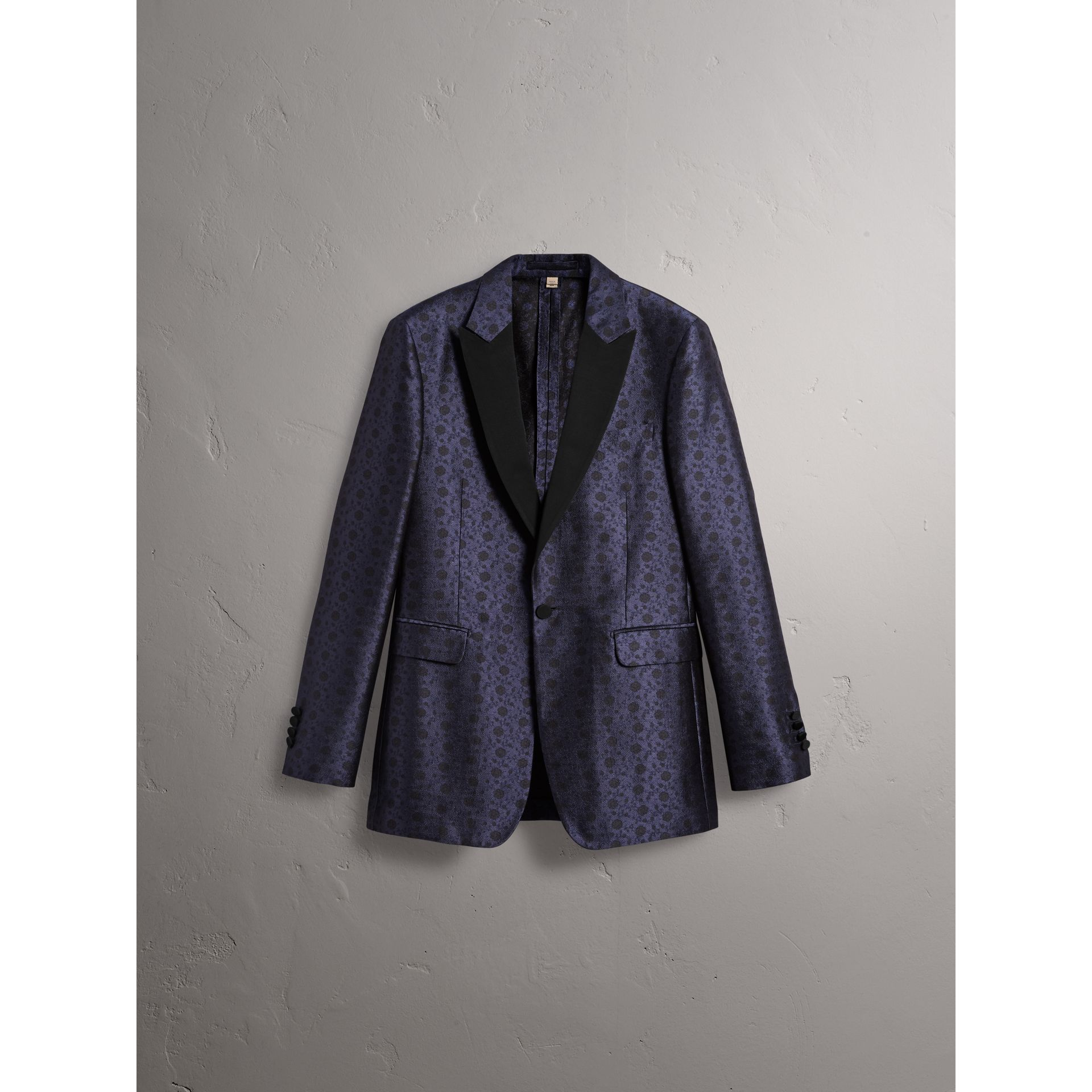 Soho Fit Silk Wool Jacquard Evening Jacket in Navy - Men | Burberry - gallery image 4