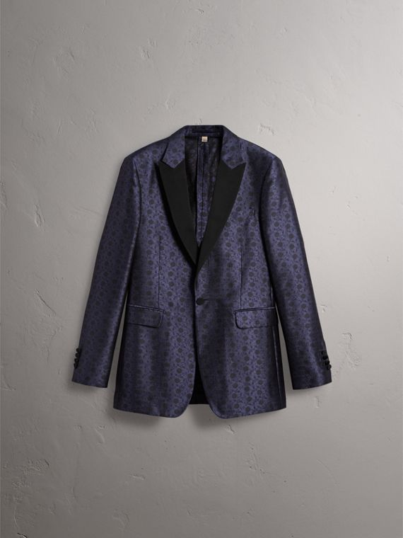 Soho Fit Silk Wool Jacquard Evening Jacket in Navy - Men | Burberry - cell image 3