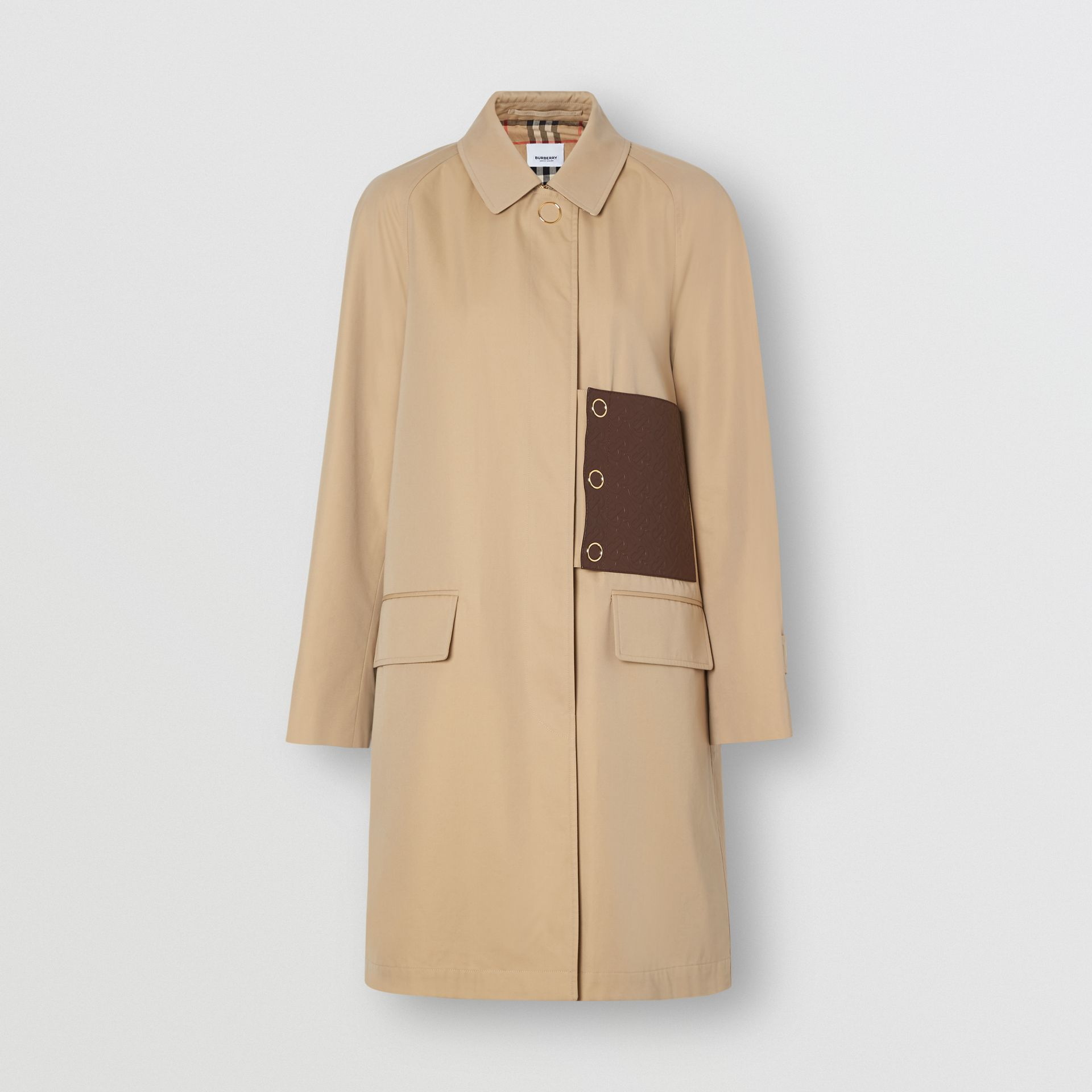 Monogram Leather Detail Cotton Gabardine Car Coat in Honey - Women | Burberry - gallery image 3