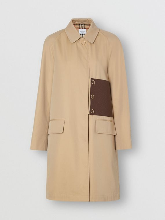 Monogram Leather Detail Cotton Gabardine Car Coat in Honey