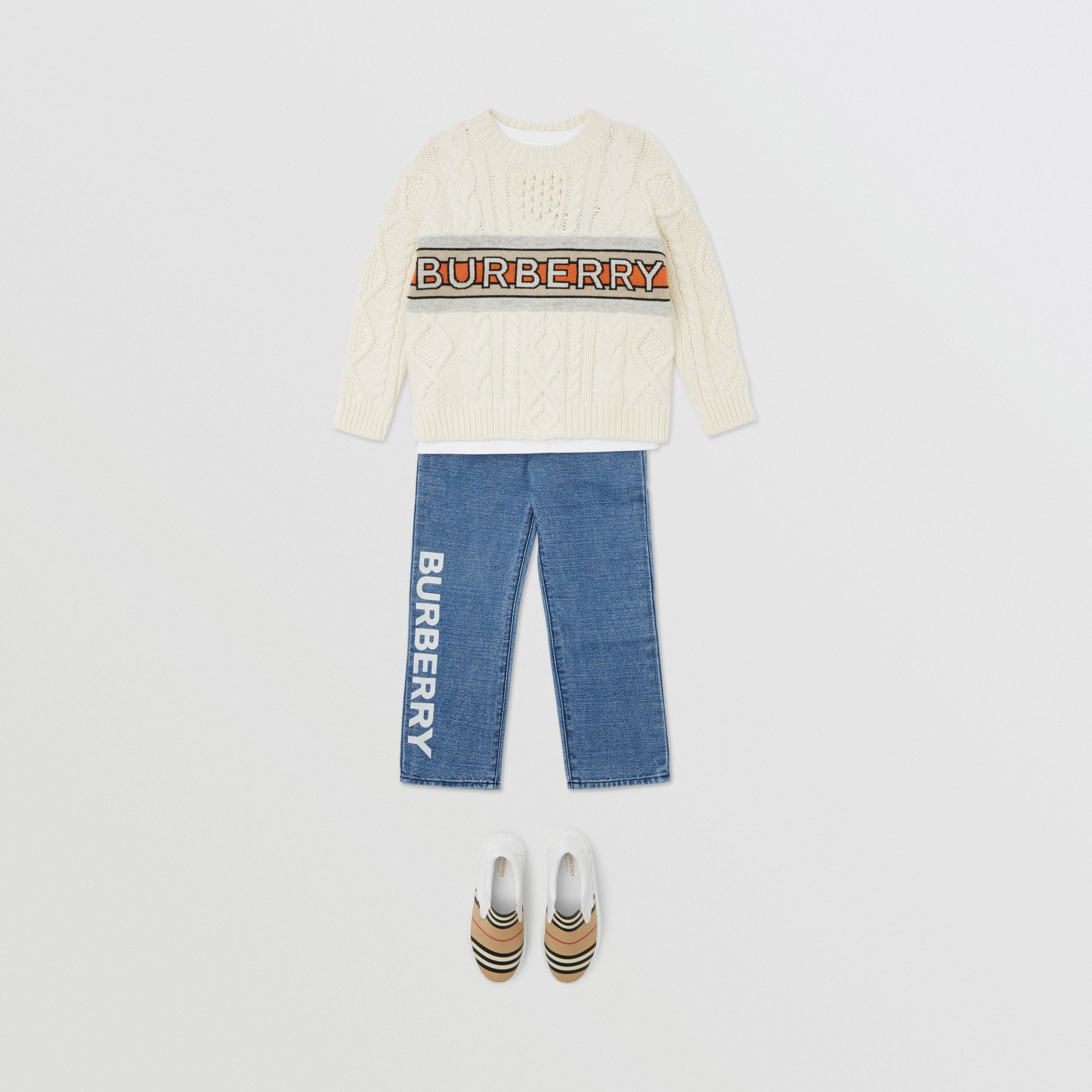 Logo Print Japanese Denim Jeans in Indigo | Burberry - 3