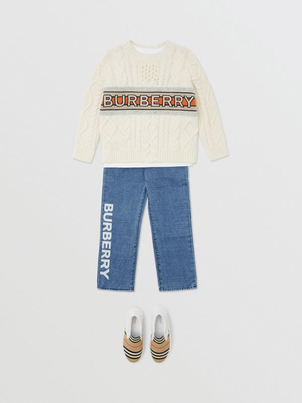Logo Print Japanese Denim Jeans in Indigo - Boy | Burberry - cell image 2