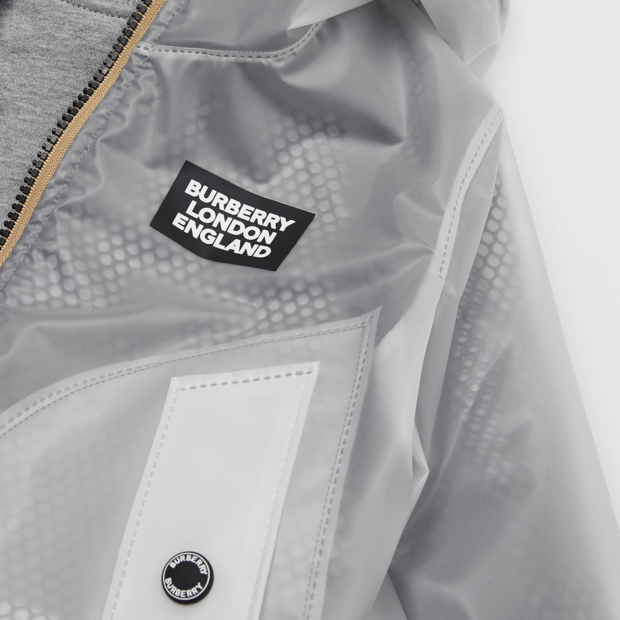 Logo Print Lightweight Hooded Jacket in Clear | Burberry - 2
