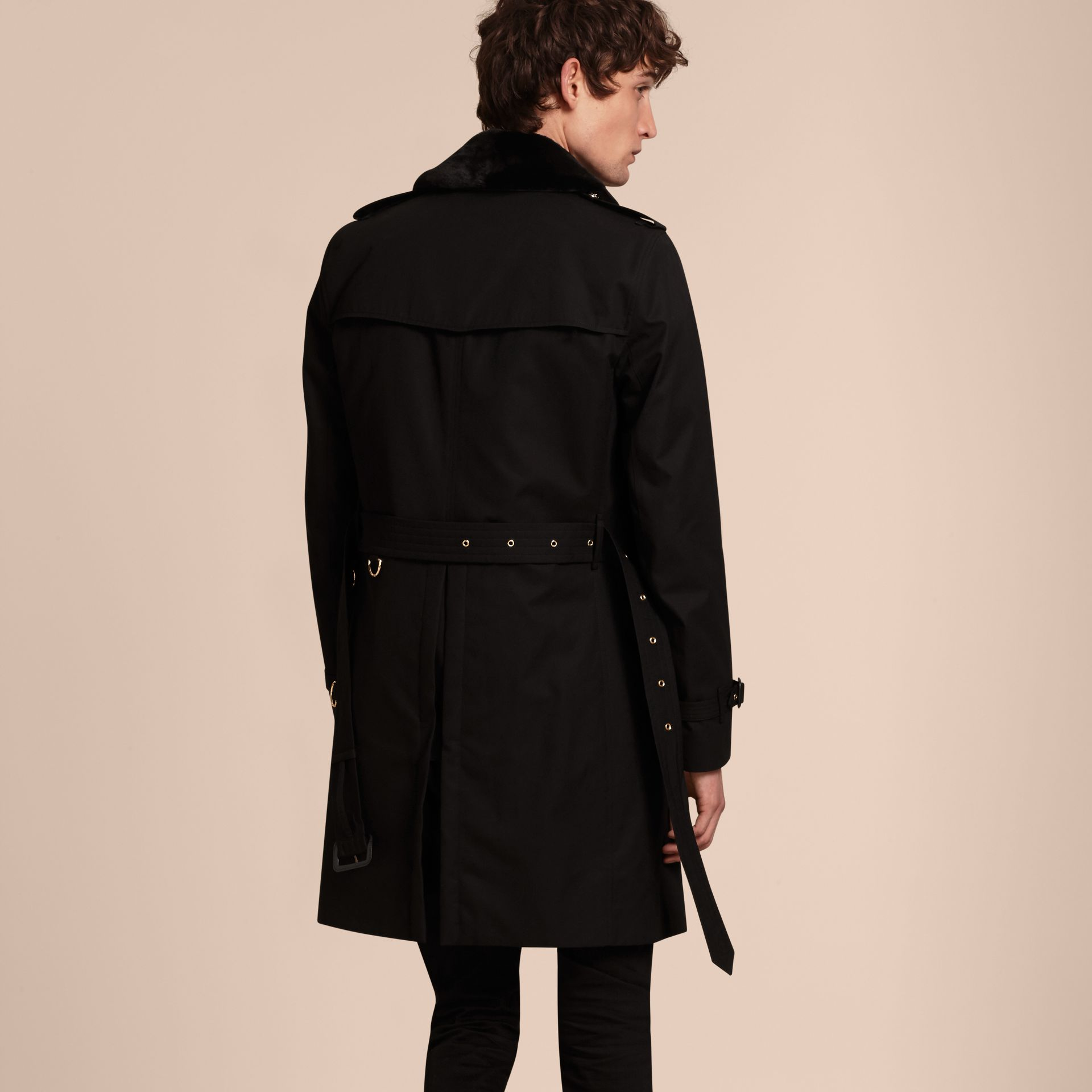 Black Military Trench Coat with Detachable Mink Collar and Warmer - gallery image 3
