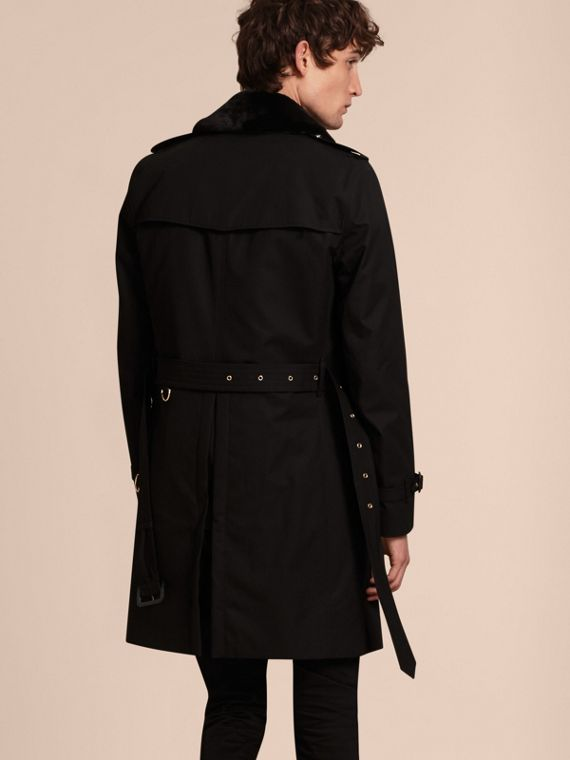Black Military Trench Coat with Detachable Mink Collar and Warmer - cell image 2