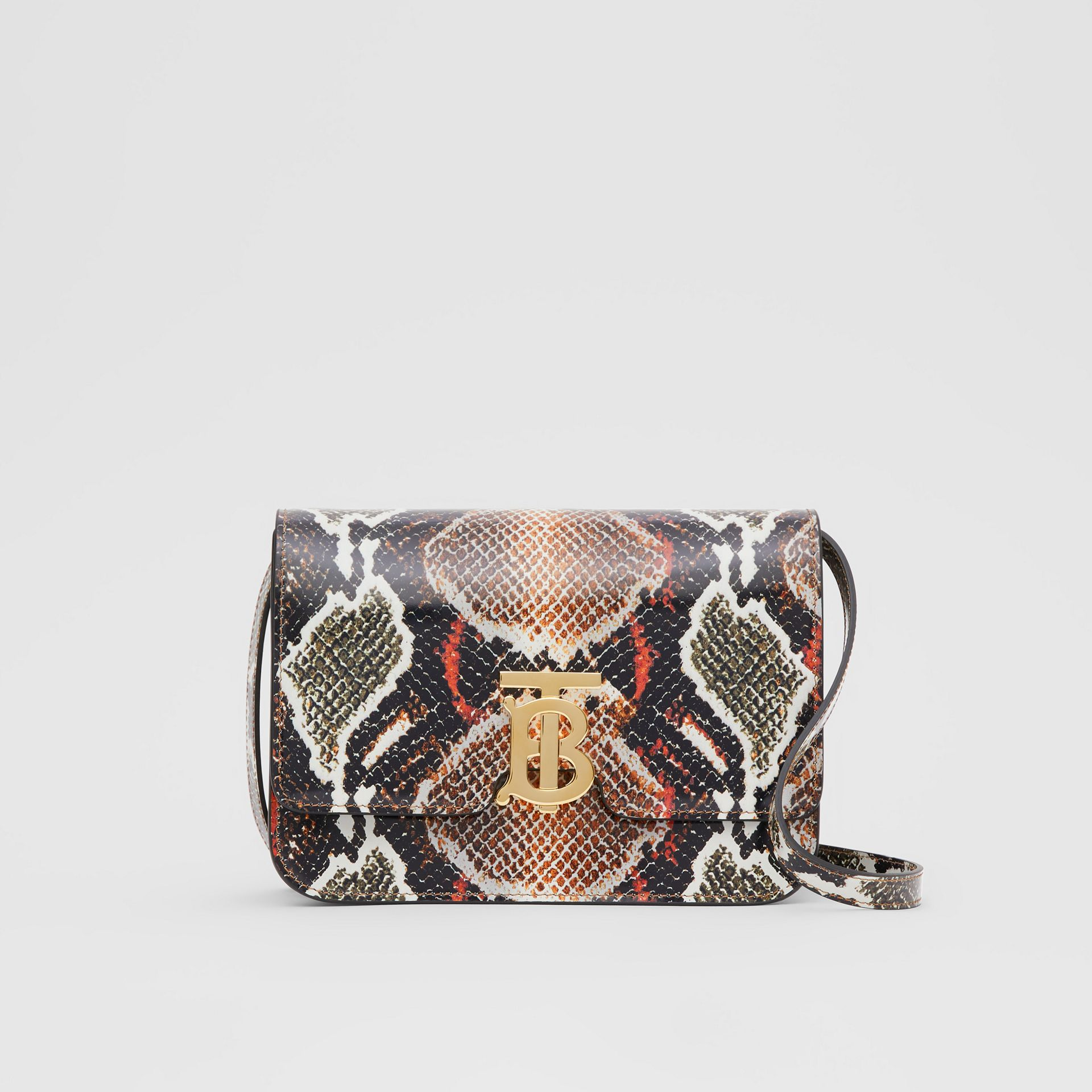 Small Python Print Leather TB Bag in Soft Cocoa - Women | Burberry - gallery image 0