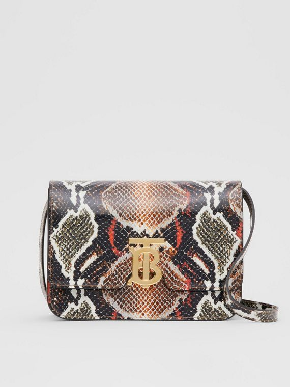 Small Python Print Leather TB Bag in Soft Cocoa
