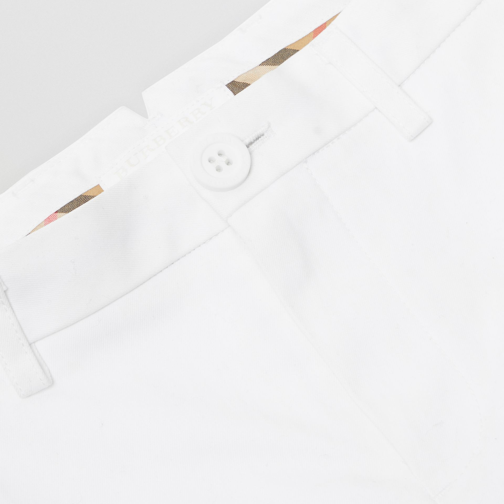 Cotton Chino Shorts in Optic White | Burberry - gallery image 1