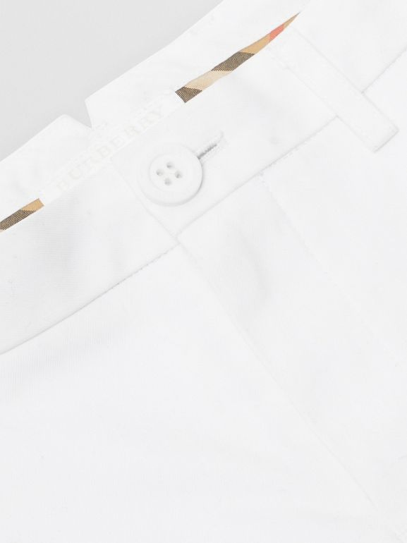 Cotton Chino Shorts in Optic White | Burberry United States - cell image 1