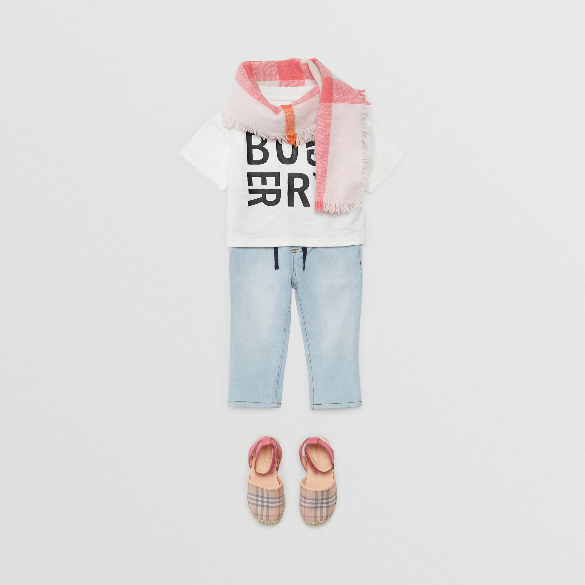 Logo Print Cotton T-shirt in White - Children | Burberry - gallery image 2