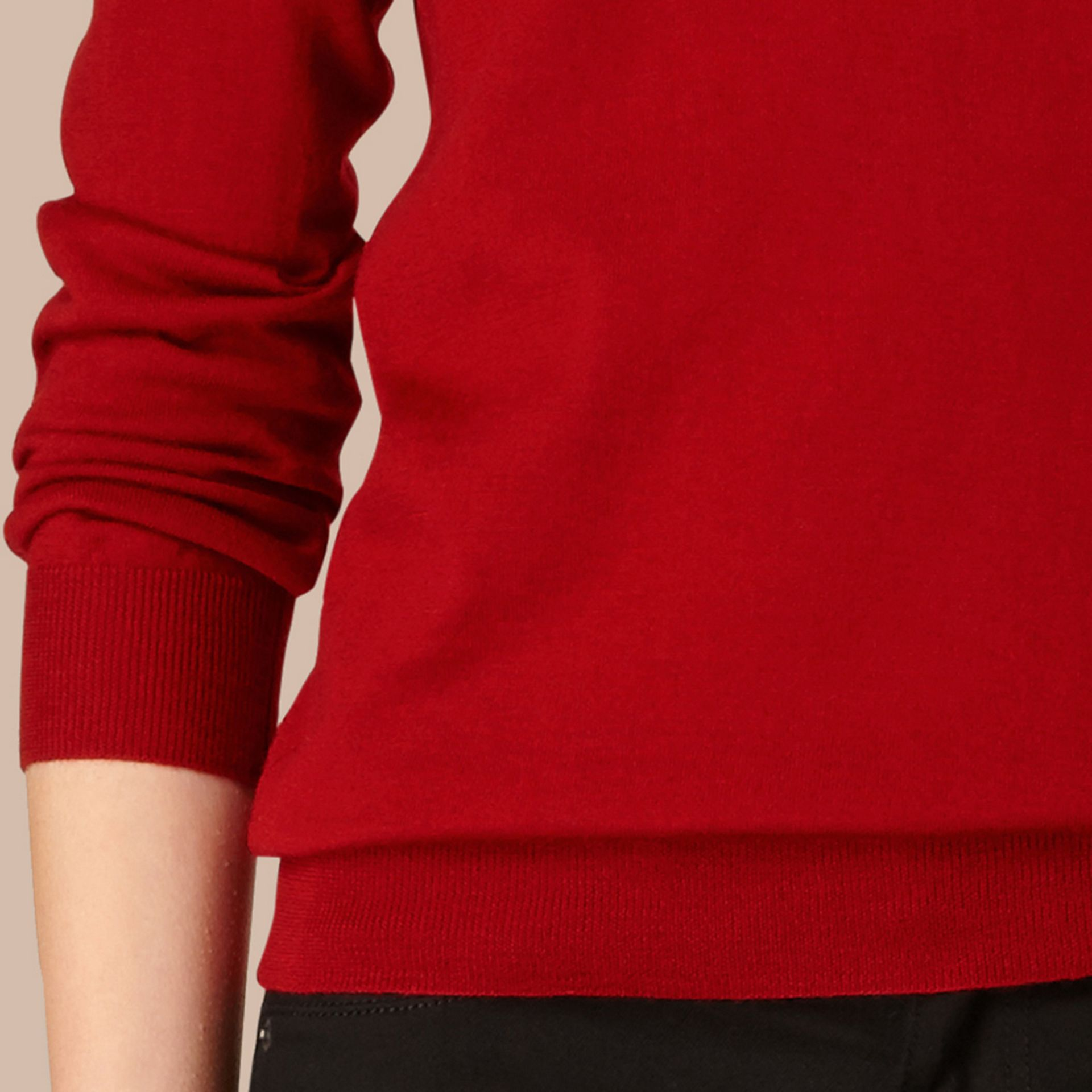 Check Detail Merino Wool Crew Neck Sweater in Parade Red - Women | Burberry Canada - gallery image 1