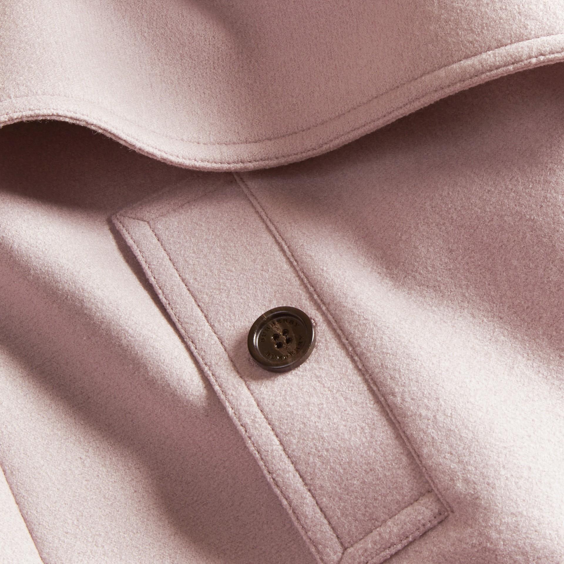 Orchidée pâle Trench-coat portefeuille en laine - photo de la galerie 2