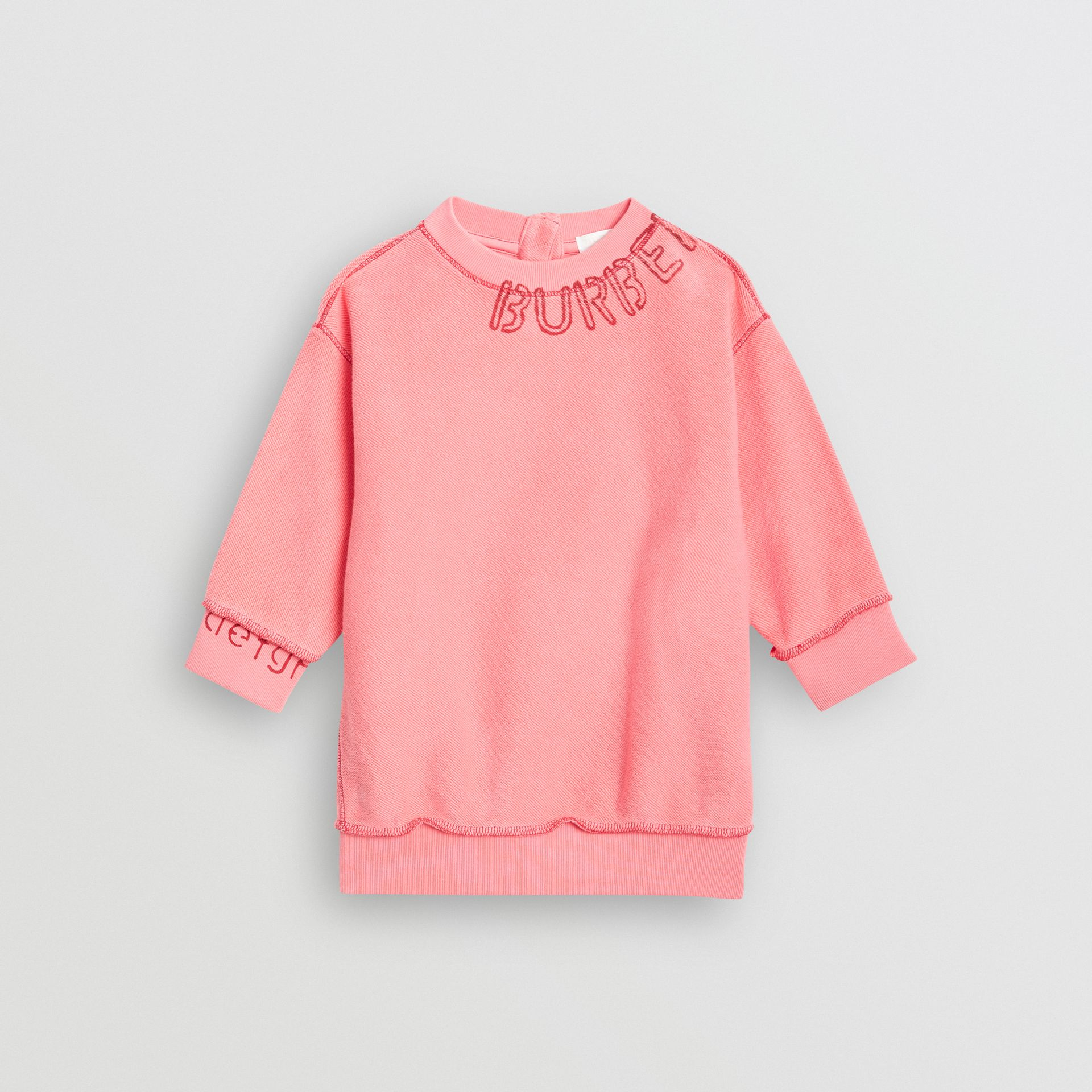 Stencil Logo Print Cotton Sweater Dress in Bright Pink - Children | Burberry Canada - gallery image 0