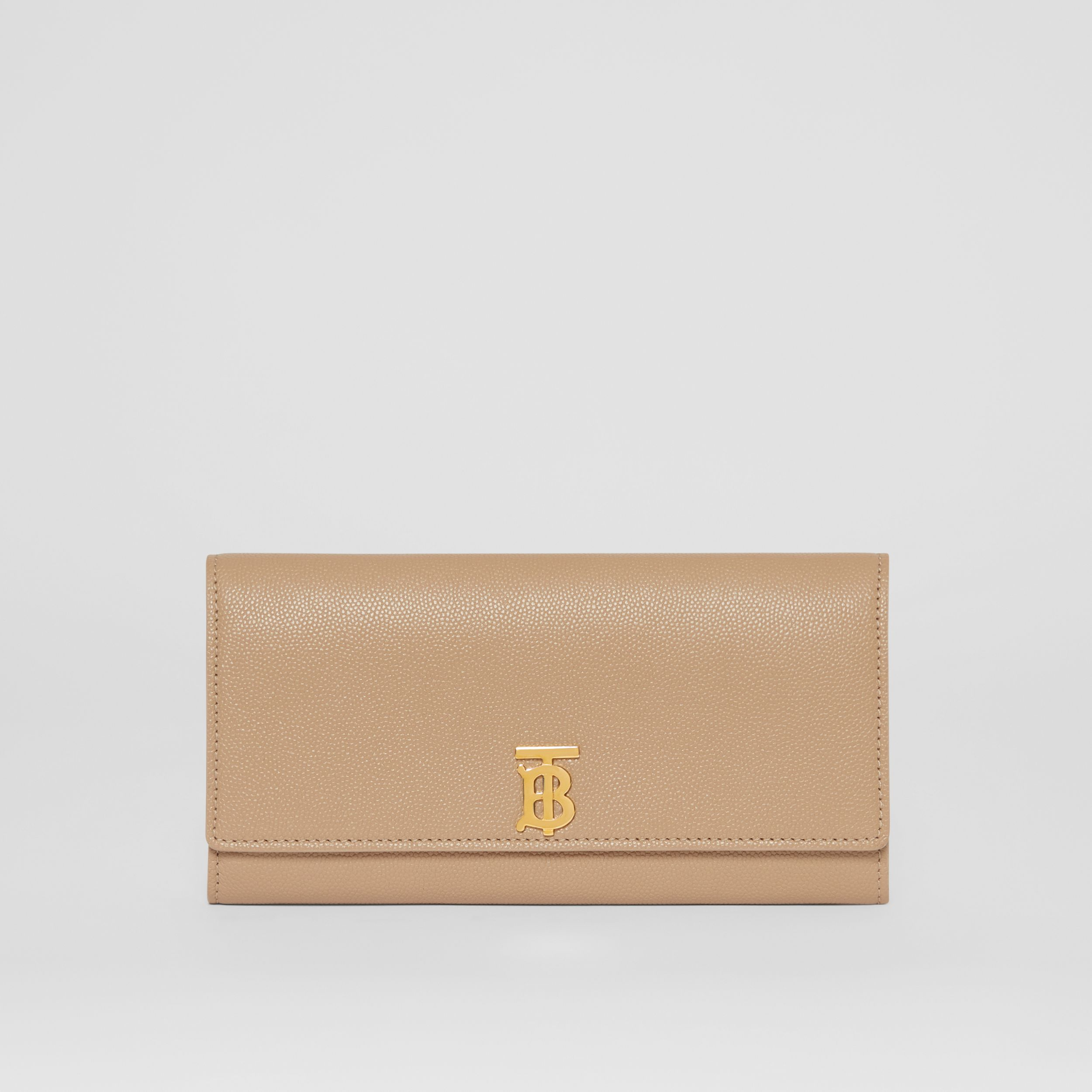 Monogram Motif Grainy Leather Continental Wallet in Archive Beige - Women | Burberry - 1