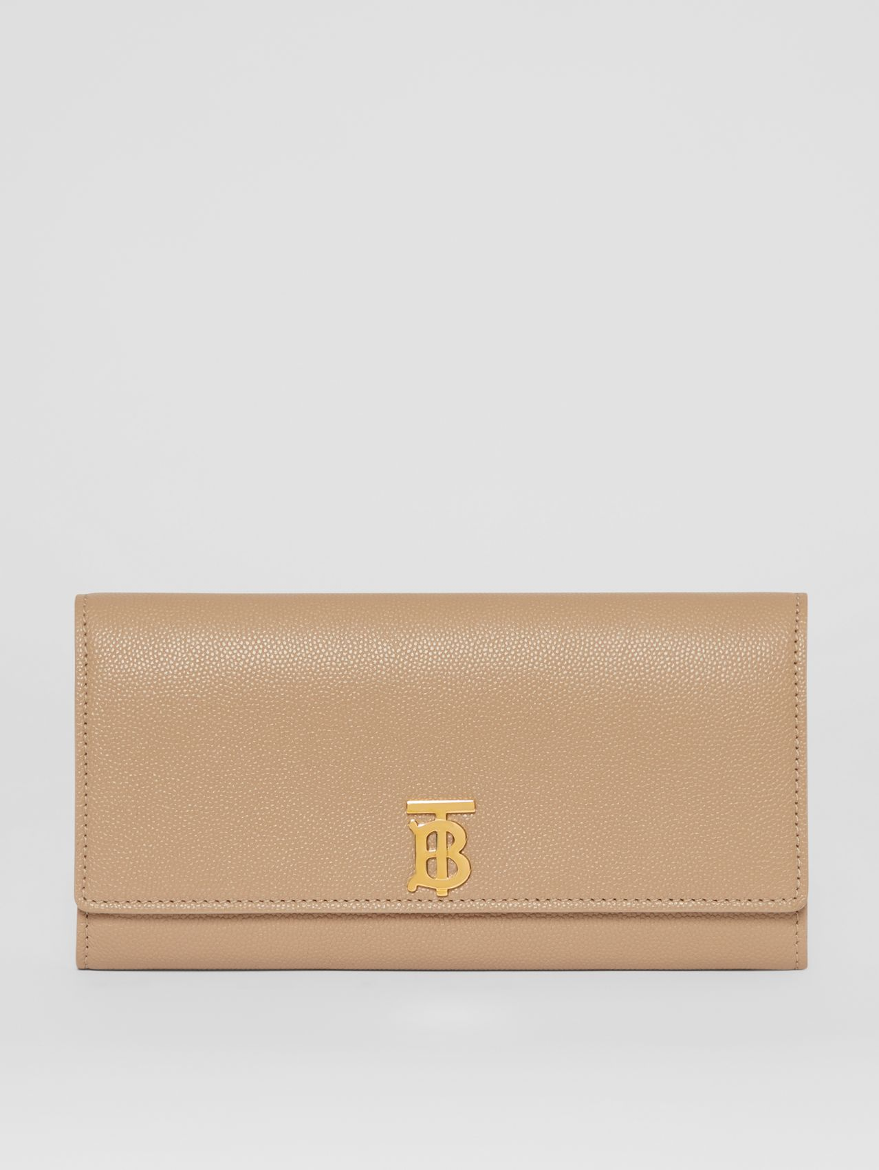 Portefeuille continental en cuir grainé Monogram in Beige D'archive