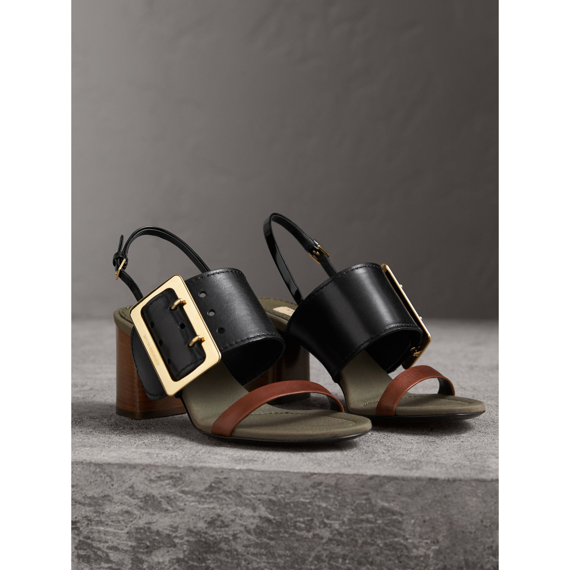 Buckle Detail Leather Sandals in Black - Women | Burberry Singapore - gallery image 5